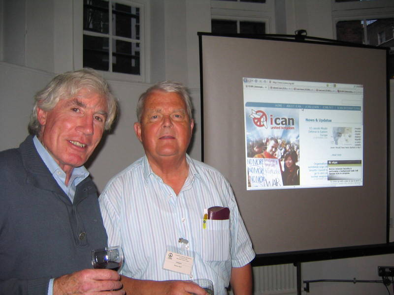 Delegates heard from Bruce Kent and Frank Boulton, Medact's Chair, (both pictured above) on the progress ICAN-UK is making on pressuring the government to support a NWC.
