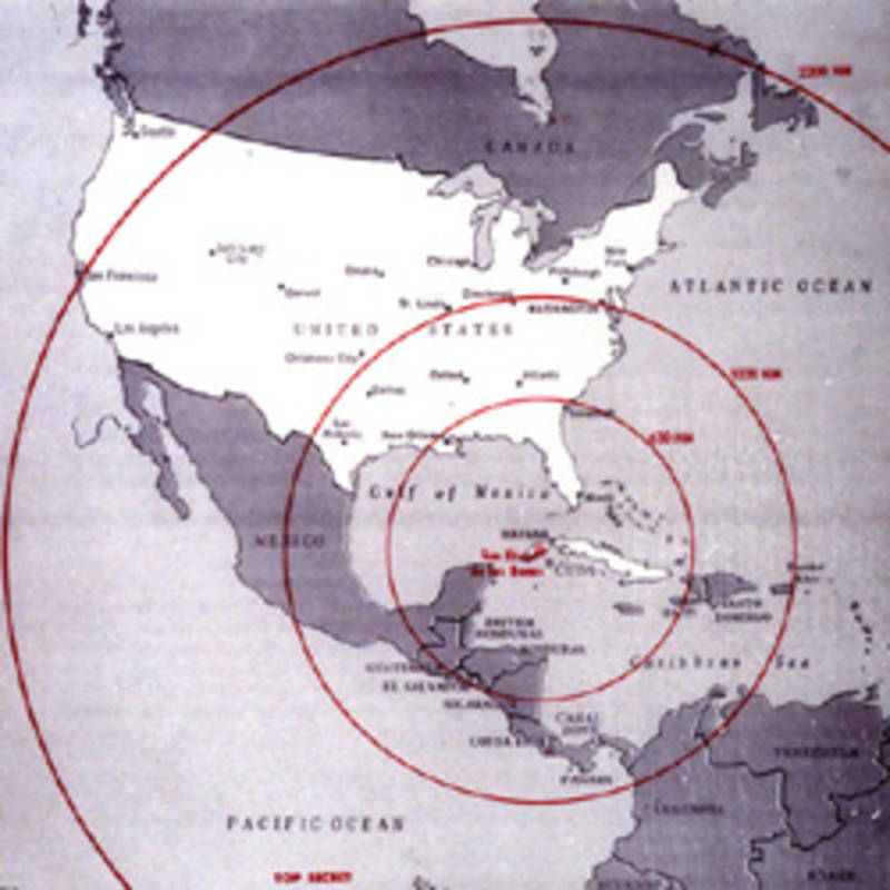 Map of the western hemisphere showing the full range of the nuclear missiles under construction in Cuba, used during the secret meetings on the Cuban crisis. Source= The John F. Kennedy Presidential L