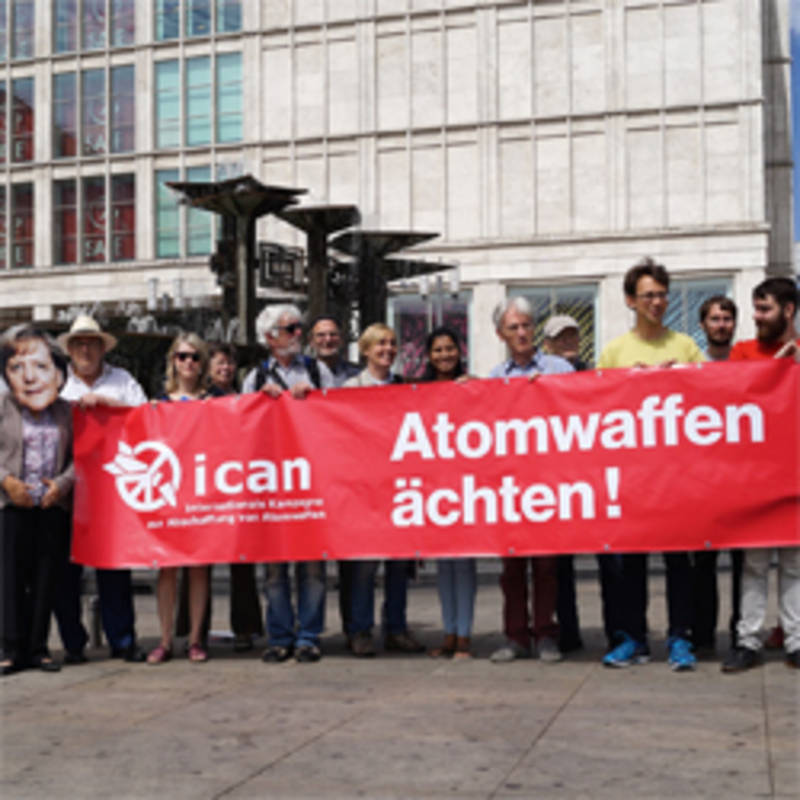 1st Anniversary of the Nuclear Non-Proliferation Treaty, Action at Alexanderplatz. Photo: ICAN