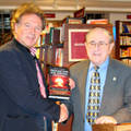 Speaker of IC Herman Spanjaard congratulates Prof Lown on booklaunch.