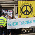 On July 6.2016 members of the Health Through Peace community joined a peaceful protest over the Chilcot report. Photo: Medact