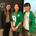 Nikki Shah (left) posing with enthusiastic participants Fumika and Chisaki from IFMSA Japan