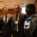 IPPNW co-president Bob Mtonga (R) with NGO colleagues at UN First Committee on Disarmament 2010