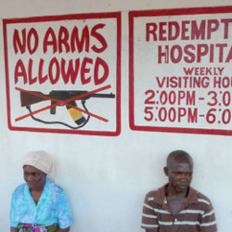No-Arms sign in a liberian hospital, Source: Lucie Collinson