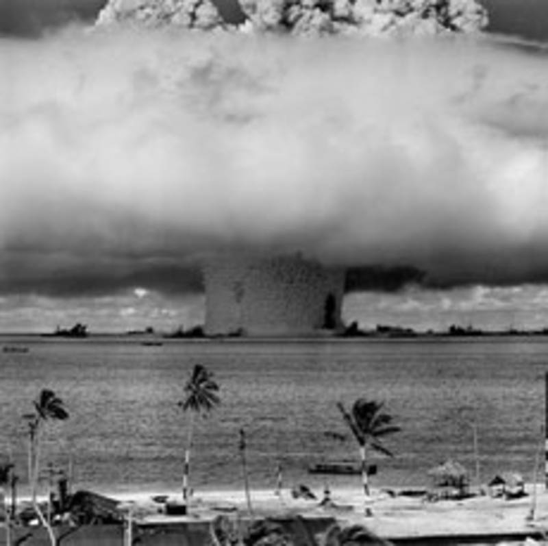"On July 25, 1946, the U.S. Army detonated the ""Baker"" nuclear test bomb with a yield of 21,000 tons of TNT equivalent underwater near the Bikini Atoll. 106 nuclear tests were carried out between 1946"