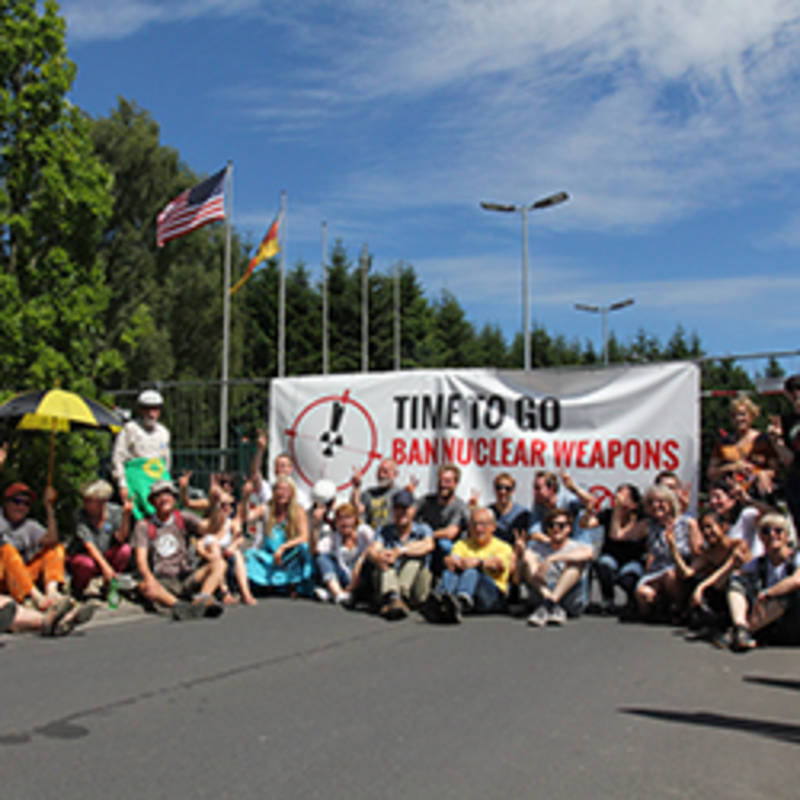 IPPNW protest in front of the main entrance to the air base in Büchel, Germany where US nuclear weapons are located, Photo: IPPNW