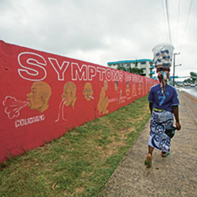 Monrovia, Liberia: An Ebola is Real mural painted on a wall on the main road through Monrovia -- Tubman Blvd. Photo by Morgana Wingard/United Nations Development Programme, https://creativecommons.org