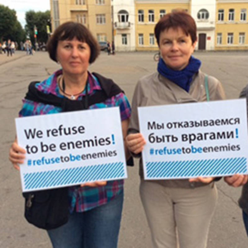 "Participants of the campaign ""We refuse to be enemies"" in Smolensk, Photo: IPPNW"