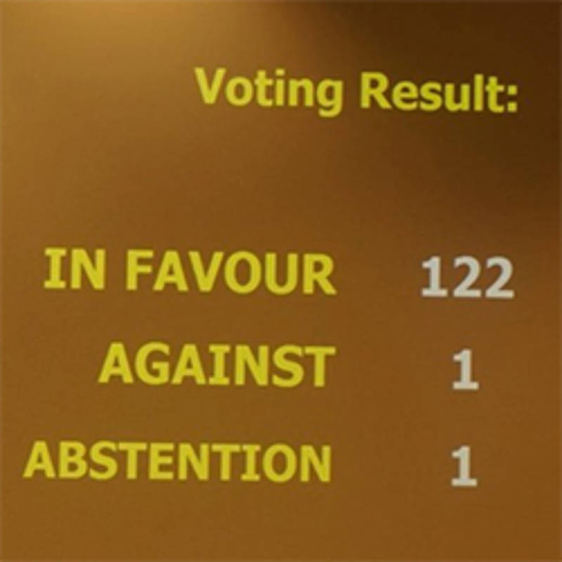 Results of the Treaty Vote in the UN, Photo: ippnw.org