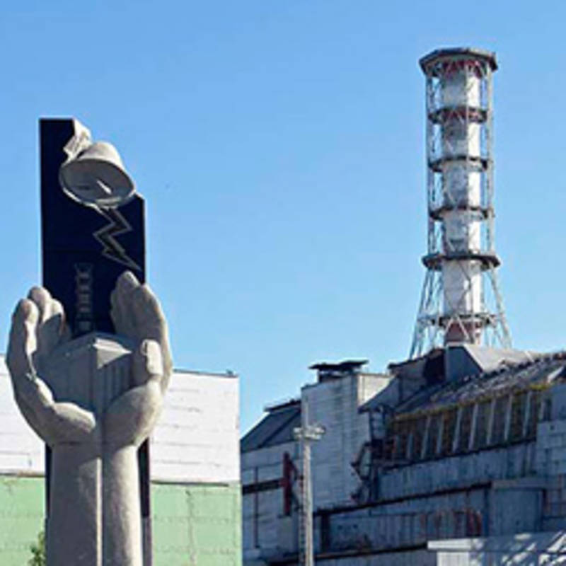 Monument at the Chernobyl power plant. Image: Mond, Wikimedia, Creative-Commons 3.0